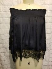 Scoop Nyc Off the Shoulder viscose Top M Navy w Black lace Nwot