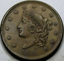1838 Coronet Head Large Cent Choice Uncirculated Ms+ Bn. So Nice and Original!
