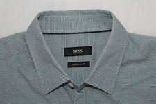 HUGO BOSS Men's M Extra Slim Fit Blue Check MICK Cotton Shirt