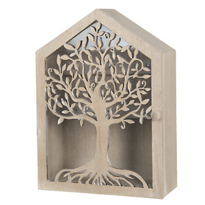 Wooden Key Holder Box Tree of Life Cabinet Storage Wall Mounted Freestanding