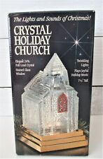 St George 24% Lead Crystal Holiday Church with Lights and Music with Box Vintage