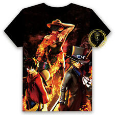 Anime One Piece Luffy/Ace/Sabo T-shirt HD Printing Cosplay Tee Tops#6-30-1-E96