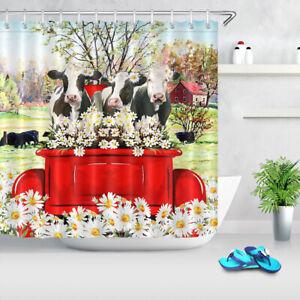 Farm Animals Cow White Daisy Farmhouse Shower Curtain Bathroom Accessory Sets