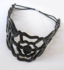 Headband bandeau serre-tête plastique 5cm large grosse fleur noir HEB24