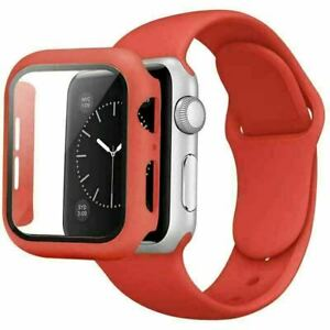 Silicone iWatch Band + Case Strap For Apple Watch 6 5 4 3 2 1 SE 38 42 40 44mm