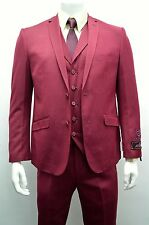 Men's Vested Burgundy  Ultra Slim Fit Dress Suit SIZE 50R NEW