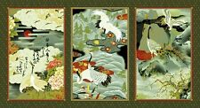 Fabric #2584 Asian Cranes & Floral Grey BG, 3 Separate Pictures, Sold by Panel