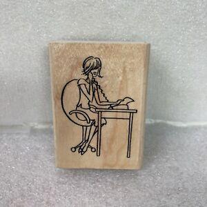 Stampendous Rubber Stamp H150 Melanie Woman at Desk Secretary Fashion Friendzy