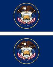 set of 2x sticker vinyl car bumper decal macbook flag utah usa american