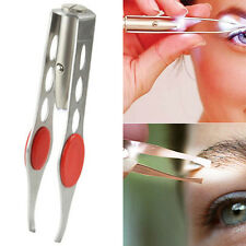 NEW EYEBROW EYELASH TWEEZERS with Built-In LED LIGHT Hair Removal Makeup Tool