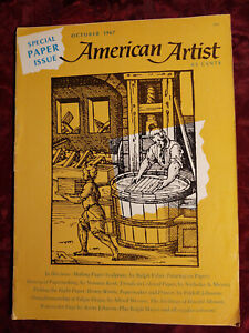 AMERICAN ARTIST October 1967 Colored Paper Sculpture Papermaking Henry Morris