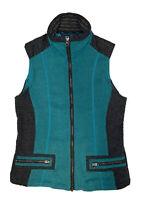 Khul Kashmira Women's Teal And Black Full Zip Fleece Vest Size Small