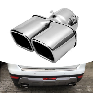63mm Stainless Steel Car Rear Square Cut Trim Dual Exhaust Pipe Tail Muffler Tip