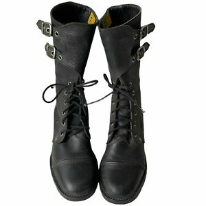 Caterpillar Vintage Womens size 9.5 Black Buckle Flap Mid Calf Combat Boot 71729