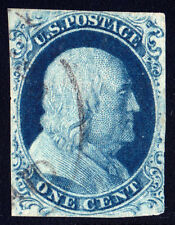 "#9 - 1 Cent 1851-57, 77L1L, Deep Blue, recut twice at Top, Dot in ""O"" variety,"