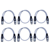 Seismic Audio 6 Pack of 2 Foot White XLR Patch Cables - 2' XLR Patch Cords