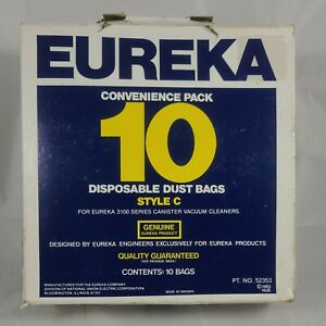Genuine Eureka Brand Style C Disposable Dust Bags - 3100 Series 10 In Box Open