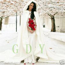 New Bridal Winter Warm Long Wedding Cloak Cape White Faux Fur Cape