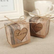100pcs Wedding Favor Box Bonbonniere Love Rustic Kraft Candy Boxes w/Jute Burlap