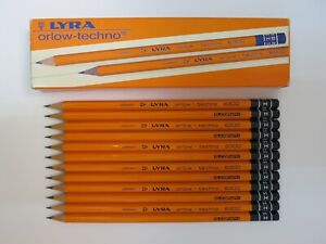 12 VINTAGE LYRA PENCILS: ORLOW-TECHNO 6300 H -  MADE IN GERMANY, UNUSED, NOS