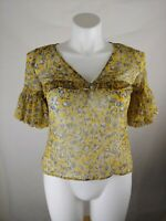 Ann Taylor Women's Lace Up Bell Sleeve Top Yellow Floral Medium Petite