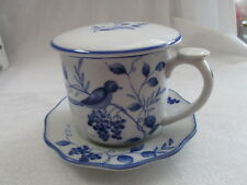 Vintage Andrea By Sadek White & Blue Bird & Pants Coffee Cup With lid & Sucer
