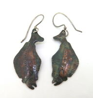 .Handmade Unusual Stylised Sole Fish Patinated Sterling Silver Earrings 4.78g