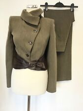 ARMANI COLLEZIONI BROWN WOOL BLEND & LEATHER JACKET & TROUSER SUIT SIZE 40 UK 8