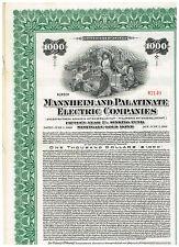 Mannheim and Palatinate Electric Co., 1926, 1000$ Gold-Bond