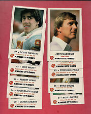 1986 KANSAS CITY CHIEFS LAW ENFORCEMENT AGENCY TIP CARD LOT