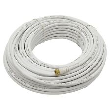 Eagle 50' FT RG6 Coaxial Cable White With Gold F Male Each End Coax Jumper