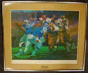 Rare Baltimore Colts Johnny Unitas Autographed Print by Bob Peak  #607/1500