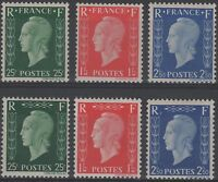 """FRANCE YVERT 701 A - F """" MARIANNE DULAC SET 6 VALUES PRINTED IN LONDON """" MNH VVF"""