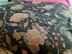 """Vintage Black multi Floral Linen fabric Throw with heavy tassel trimming 69""""x49"""""""