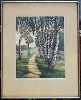 Farbradierung Künstlergrafik Max J. Fliegerbauer (1874-1952), Birkenweg, gerahmt