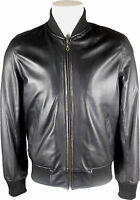 UNICORN LONDON Mens Black Classic Real Leather Bomber Jacket #B0