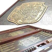 "Watlux 21"" Golden Dynasty Luxury Wooden Backgammon Set Leather Pieces Tournament"