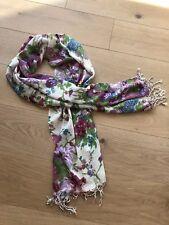 SIR ALISTAIR RAI Watercolor Floral Scarf - White/Purple/Blue Multi