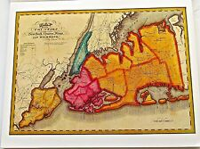 New York City Historic Map Reproduction of Early Map for Counties 1829 14x11