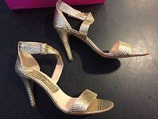 Fornarina Italian Designer Leather Snake Gold Strap Sandal Stilettos Heels New 9