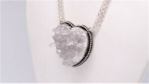 Sterling Silver Quartz Cluster Heart Necklace by the Untamed Oracle