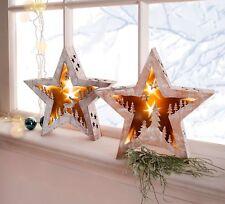 B- Ware NEU LED Holzstern 2er Set LED Leuchter Lampe Weihnachten Deko  20143