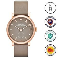 New Marc By Marc Jacobs Ladies Watch Baker Rose Gold Grey Leather Strap MBM1266