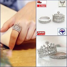 Fashion Women Beautiful Elegant Queen Rhinestone Crown Ring 2 Pcs Set [A5X2~B31]