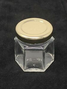 10 ea. 1.5 oz or 6 oz Mini Hexagon Glass Jars with Gold or Black Twist Off Lids
