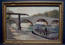 PAYSAGE MARIN  PONT  PARIS  QUAI DE SEINE signé à identifier XX  Impressionniste