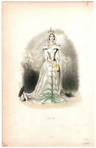 1854 German edition J J GRANDVILLE Les Fleurs Animees print LILIE