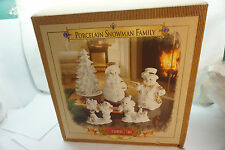 GRANDEUR NOEL SNOWMAN FAMILY CHRISTMAS STATUES FIGURINES 2000 SET 5 PC BOX