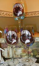 2-Hand Painted Gingerbread Man Wine Glasses