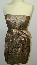 NWT MNG by Mango Gold Dress Strapless Metallic Gold Paisley with Belt-Size 10